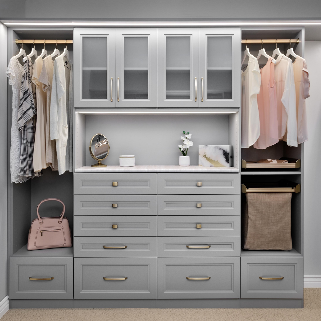 Custom reach in closet in gray